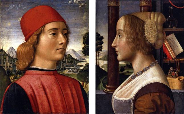 Давид Гирландайо. Портреты молодого мужчины и молодой женщины
