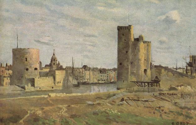 Camille Corot. La Rochelle. Harbor Entry