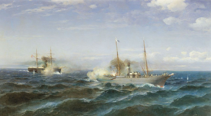 "Rufin Gavriilovich Sudkovsky. Fight steamer Vesta with the Turkish battleship ""Fethi-Bulent"""