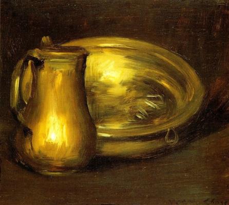 Уильям Меррит Чейз. Натюрморт с медным кувшином и латунной чашей
