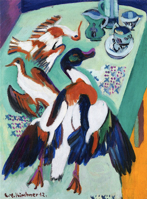 Ernst Ludwig Kirchner. Still life with duck and game