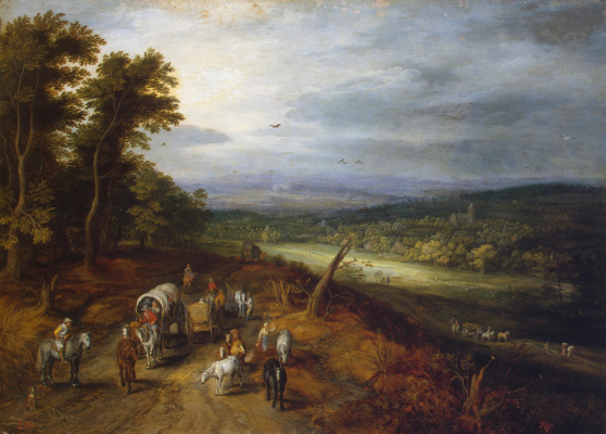 Jan Bruegel The Elder. Forest landscape with travelers and a church in the distance