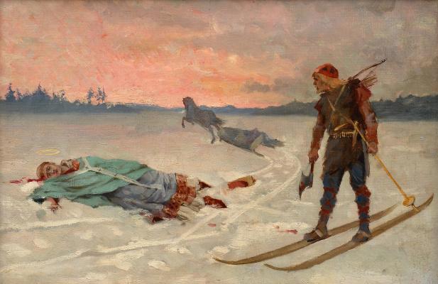 Albert Gustav Aristide Edelfelt. Death of Bishop Henrik.