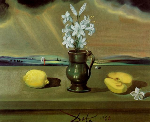 Salvador Dali. Still life with lilies