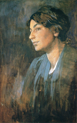 Alphonse Mucha. Portrait of Maroski, wife of the artist