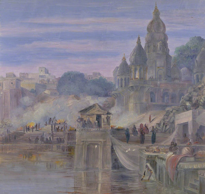 Marianna North. Cremation: burning ghats. Benares, India