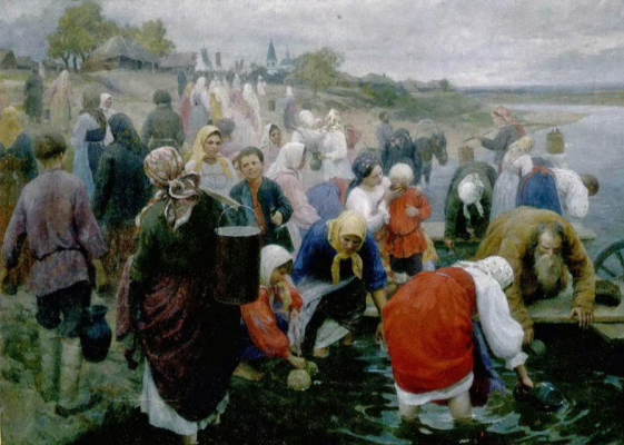 Fedor Vasilyevich Sychkov. Water blessing. 1916 Mordovia Republican Museum of Fine Arts named after SD. Erzi