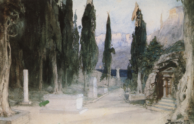"Vasily Dmitrievich Polenov. Cemetery among the cypress trees. Sketch for the Opera by K. Gluck's ""Orpheus and Eurydice"""