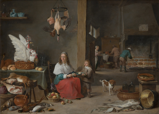 David Teniers the Younger. Kitchen interier