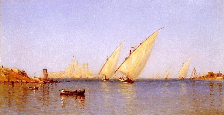 Сэнфорд Робинсон Гиффорд. Рыбацкие корабли, входящие в гавань Бриндизи