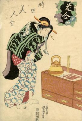 Утагава Куниёси. Состязание цветов - состязание современных красавиц. Ипомея