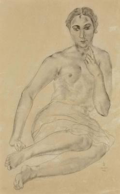 Цугухару Фудзита ( Леонар Фужита ). Сидящая обнаженная