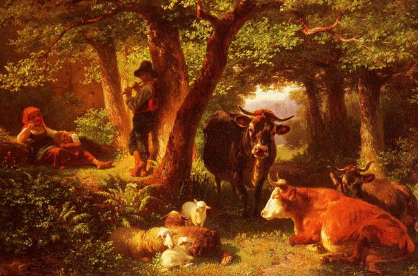 Friedrich Johann Voltz. Forest scene with cows