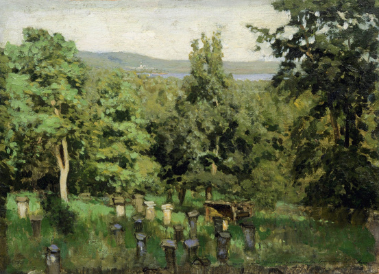 "Isaac Levitan. Apiary. A sketch for the painting ""the Spill on the Sur"""