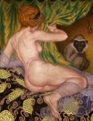 Николай Константинович Калмаков. Обнаженная с обезьяной. 1916
