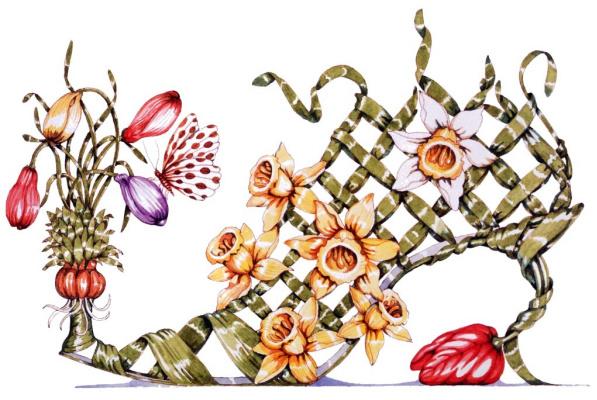 Деннис Кайт. Крокус, желтый нарцисс и тюльпан