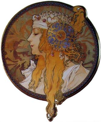 Альфонс Муха. Голова византийки: Блондинка.