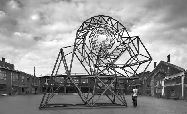 "Nikolai Nikolayevich Sednin. Architectural composition ""Wheel of Fortune"" on the territory of exhibition centre ""Winery""."