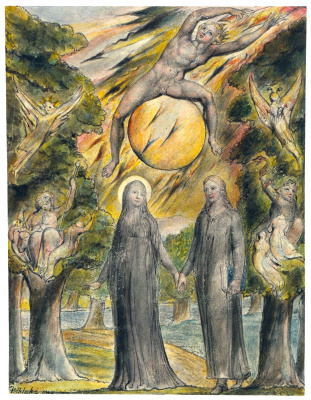 "William Blake. The sun in his anger. Illustrations to the poems of Milton's ""Fun"" and ""Thoughtful"""