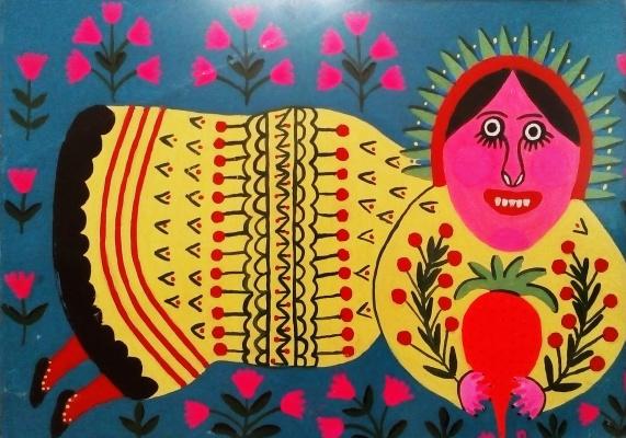Мария Авксентьевна Примаченко. Чуліндра радується, що уродила хороша морква, красна-прекраска