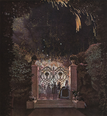 """Константин Андреевич Сомов. Fireworks in the Park. Illustration for """"book of the Marquise"""""""