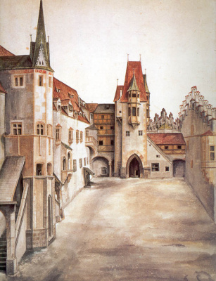 Albrecht Durer. The courtyard of the castle in Innsbruck without clouds