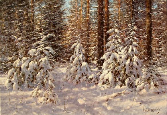 German Aleksandrovich Kulikov. Ели в лесу.