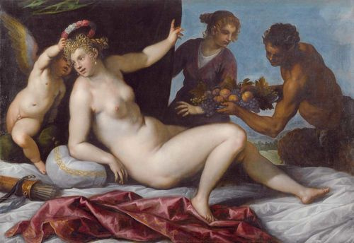 Jacopo Palma Junior. Cupid crowning Venus and Satyr with fruit