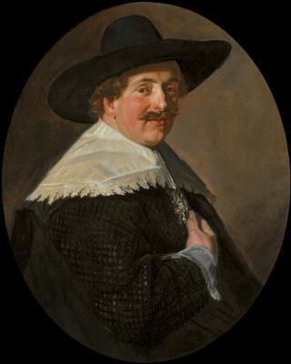 Франс Хальс. Портрет мужчины в шляпе с правой рукой на груди
