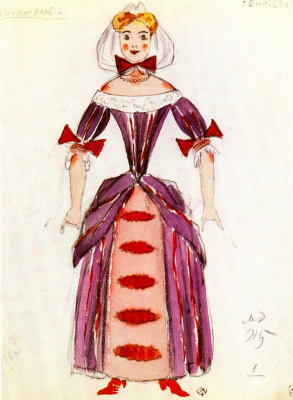 "Mstislav Valerianovich Dobuzhinsky. Costume design Henriette to Comedy, Brule and Palabra ""Lawyer Patlen"""