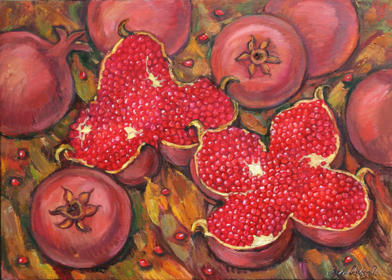 Oksana Viktorovna Zalevskaya. Pomegranates in the leaves