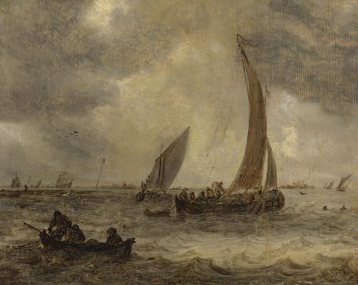 Ян ван Гойен. Многочисленные лодки в устье реки
