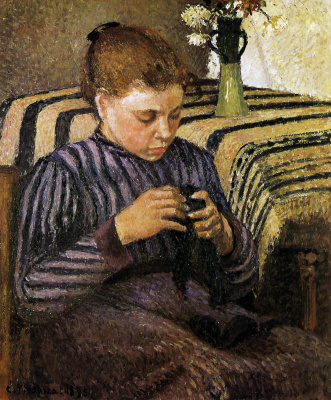 Camille Pissarro. A young woman sews stockings