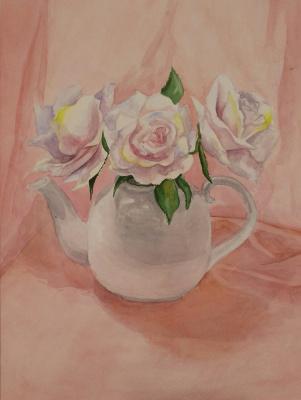 Olga Nadtochaeva. Roses in a teapot