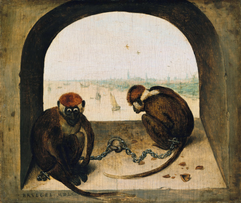 Pieter Bruegel The Elder. Two monkeys on a chain