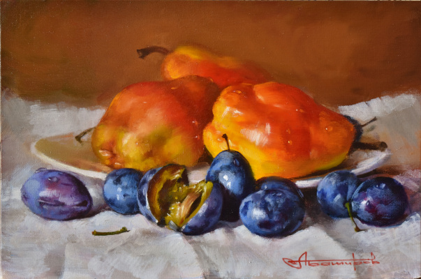 Andrey Bashirov. Red pears and plums