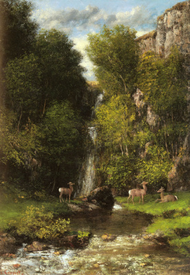 Gustave Courbet. Deer family and landscape with a waterfall