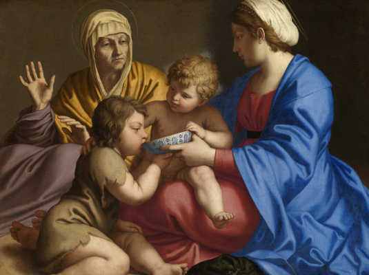 Джованни Батиста Сальви. Мадонна с младенцем и Святой Элизабет