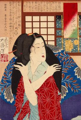 Tsukioka Yoshitoshi. Young woman looking at falling snow
