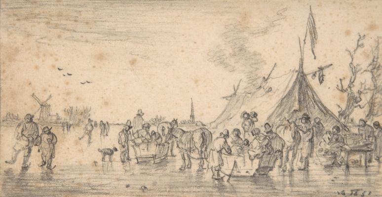 Ян ван Гойен. Зимний речной пейзаж с санками