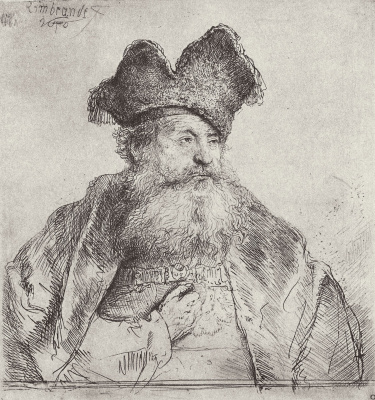 Rembrandt Harmenszoon van Rijn. Portrait of an old man in a forked hat