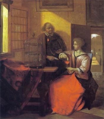Pieter de Hooch. Man and woman feeding a bird