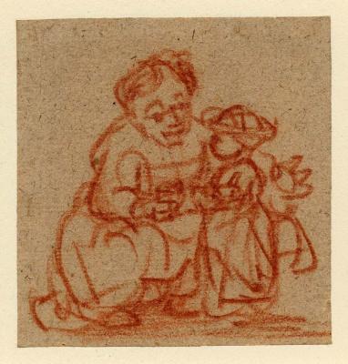 Рембрандт Харменс ван Рейн. Женщина учит ребёнка стоять