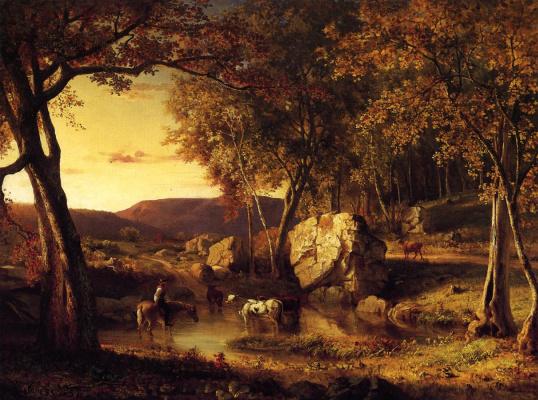 George Innes. Summer days. Cattle drinking