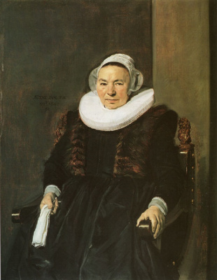 Frans Hals. Portrait of a seated woman with white gloves in his right hand