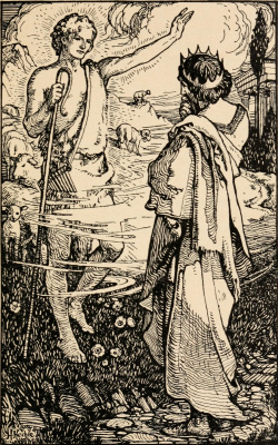 William Morris. Stories about the earthly Paradise. King Admet receives a quiver with arrows