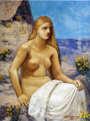 Pierre Cecil Puvi de Chavannes. Seated girl with long hair