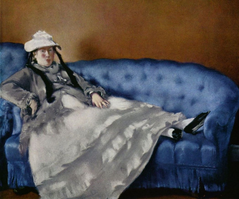 Edouard Manet. Portrait of Mrs Manet on a blue sofa