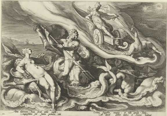 Хендрик Гольциус. Юнона жалуется Фетиде и Океану. 1590
