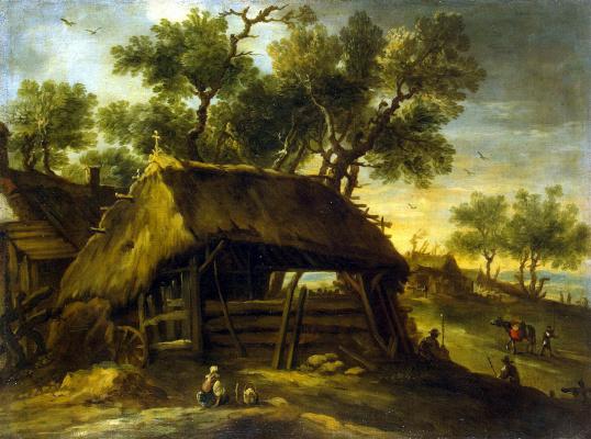 Антонио дель Кастильо. Пейзаж с хижинами